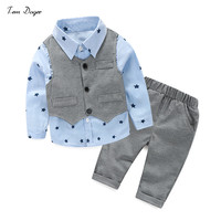 2016 Autumn Style Infant Clothes Baby Clothing Sets Boy Cotton Prints Long Sleeve 3pcs Suit Baby