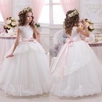 White Ivory Bloemenmeisjes Jurk Children First Communion Dresses For Girls 2016 Ball Gown Belt Pink Elegant