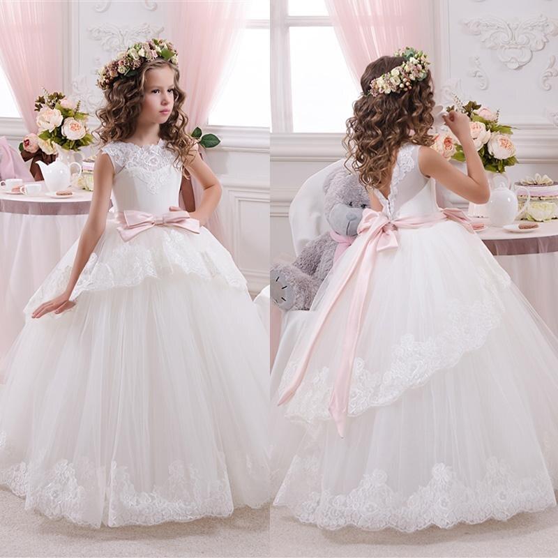 White ivory bloemenmeisjes jurk Children First Communion   Dresses   for   Girls   2018 Ball Gown Belt Pink Elegant   Flower     Girl     Dress