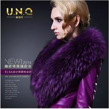 Free shipping women's long slim Genuine Leather fur clothing coat Large raccoon fur collar genuine leather windbreaker