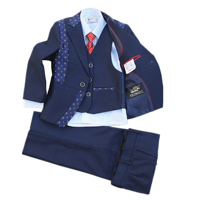 Page boy Outfits Kids Navy Blue Wedding Suits Children 5PCS Spring Clothing sets 2-15Years Blazers Jacket Outfits