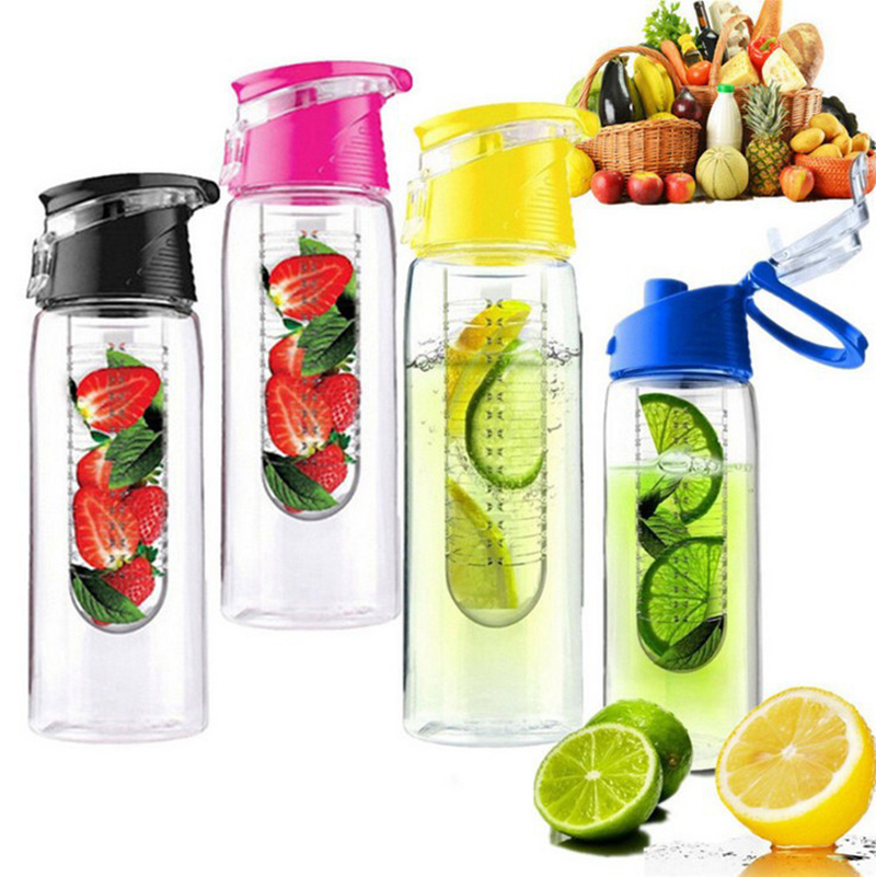 Sport-Water-Bottle Infuser-Juice Plastic Outdoor Leakproof Travel 800ML Lemon Men Women title=