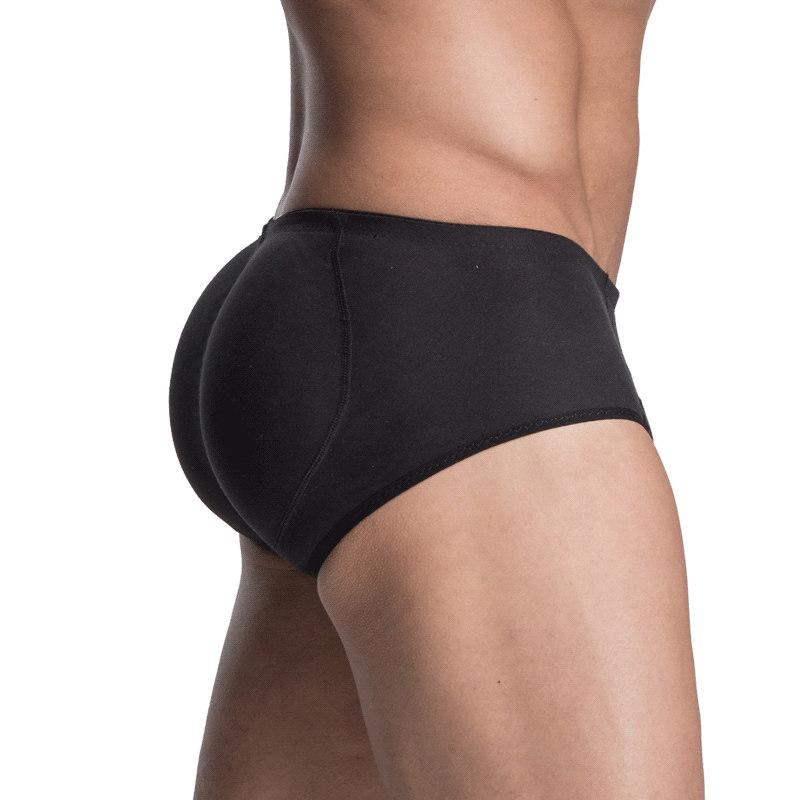 Men Sillicon Pads Butt Lifter Control Panties Removable Inserts Shaper Padded Enhancement Cotton Shaper Underwear Black