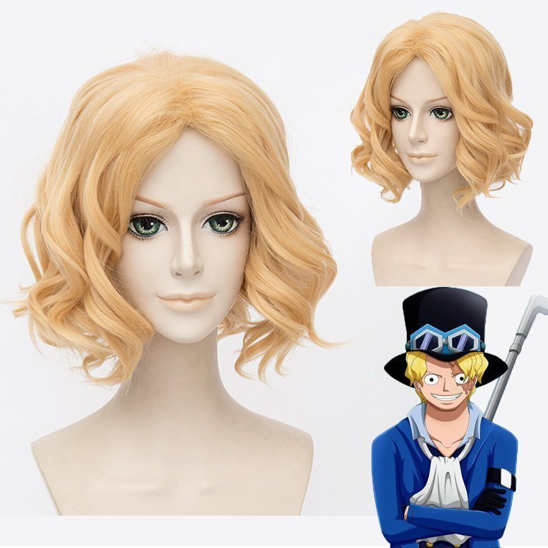 IHYAMS One Piece Sabo Cosplay Anime Wigs 30cm Golden Curly Synthetic Hair Heat Resistanc ...
