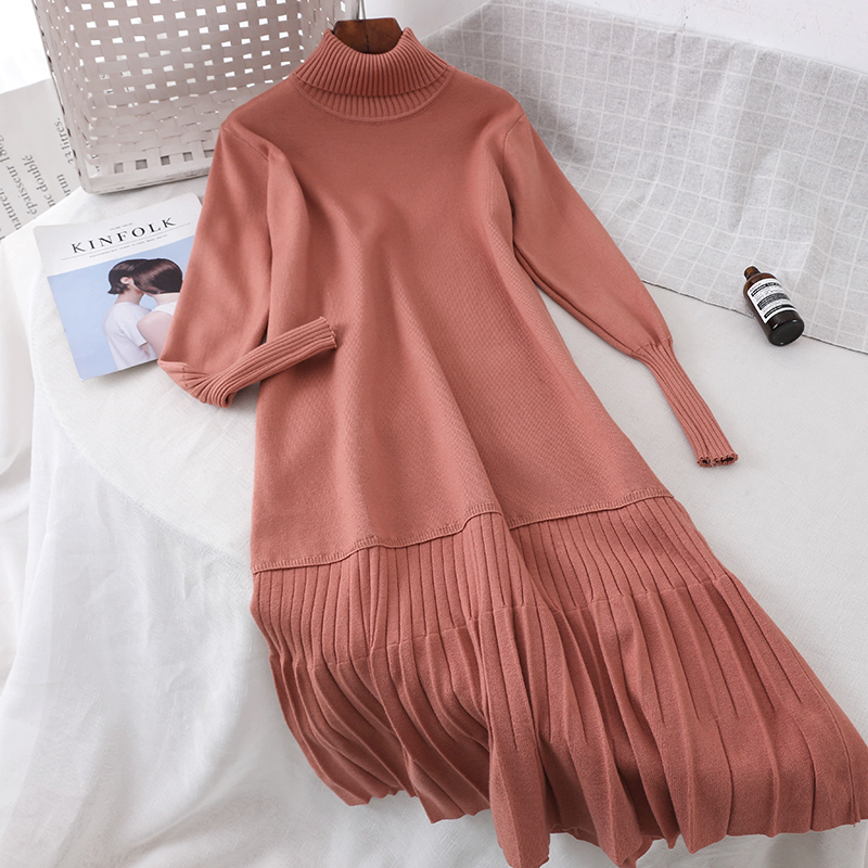 aabc436141a 2018 new fashion women s sweater dress solid color high collar slim thick  knit long sleeve pleated