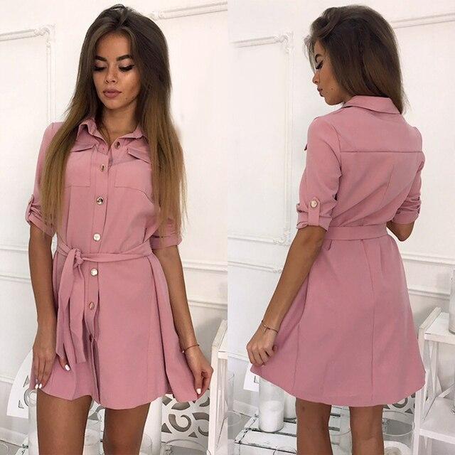 0374218e40 Kobiety na co dzień Sashes Line sukienka na imprezę damska koszulka z długim  rękawem skręcić w dół kołnierz elegancka sukienka 2019 nowy moda damska  Mini ...