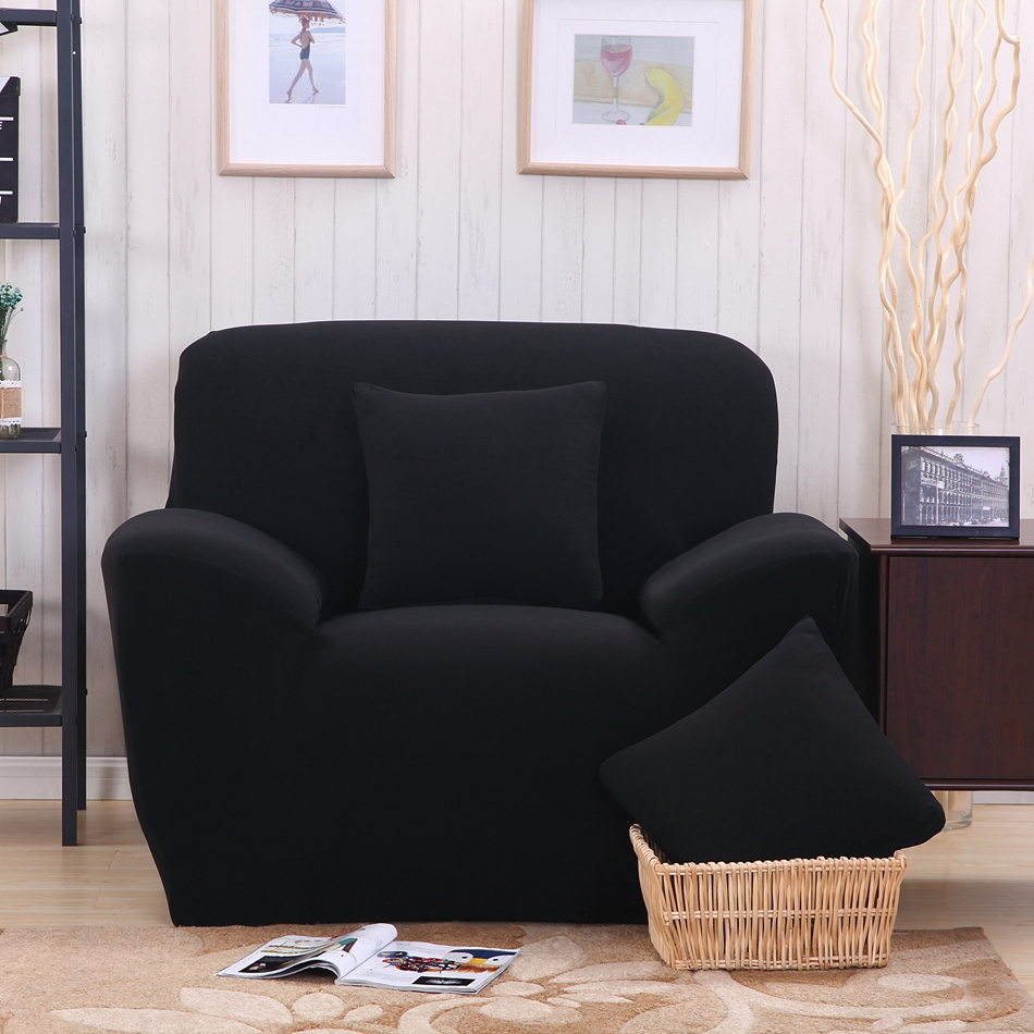 Solid Color Fabric Sofa Cover Sanding Black Slipcovers For Living Room Pure  Color Single Double Three