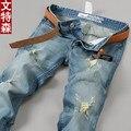Agujero delgado Vaqueros delgados Rectos hombres Pantalones Ripped jeans tallas grandes Pantalones Vaqueros homme Otoño 2016