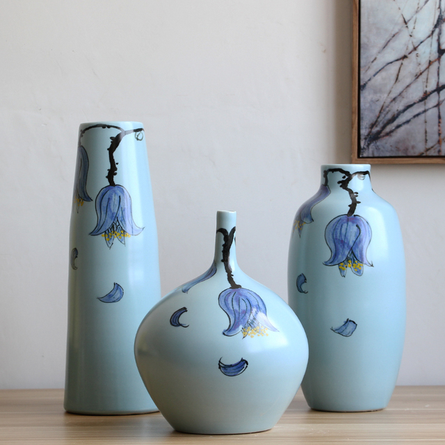 Artistic Ceramic Porcelain Table Vase Set 3 Pcs With Hand Painted
