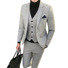 New fashion Plaid mens suits business casual groom wedding dress high quality male three-pieces set plus suze 5XL