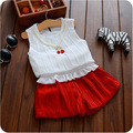 2016 Summer Girls Clothing Sets Baby Kids Clothes Suit Children chiffon T-Shirt+shorts Fashion girls clothes cherry necklace