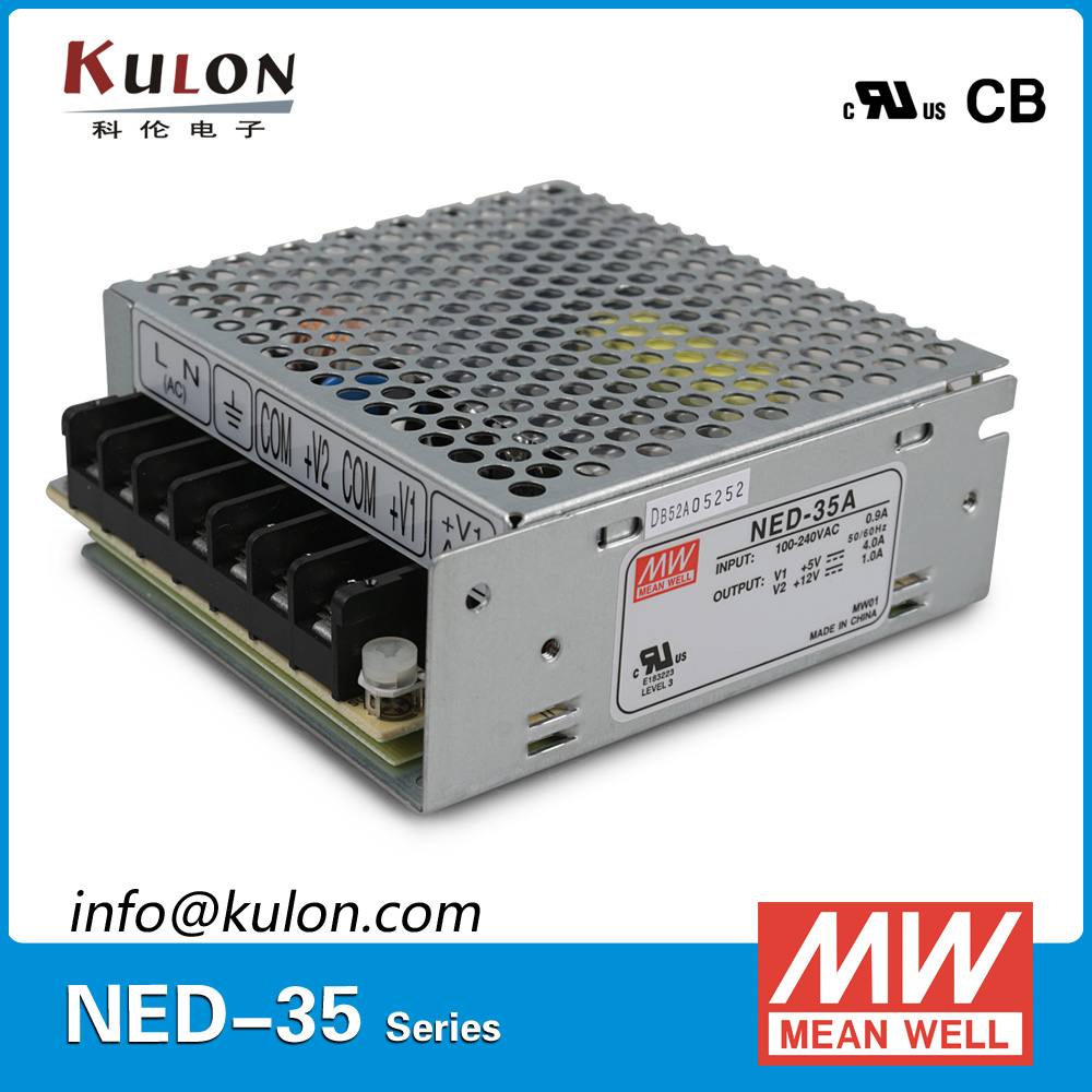 Original Mean well NED-35A 35w Dual output  5v 0.5~5.0A 12v 0.1~1.5A Meanwell switching power supply hamlet ned r