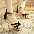 Бесплатная доставка 2016 летом новая мода женские сандалии склон с заклепками Римские сандалии Женская обувь больших размеров 40