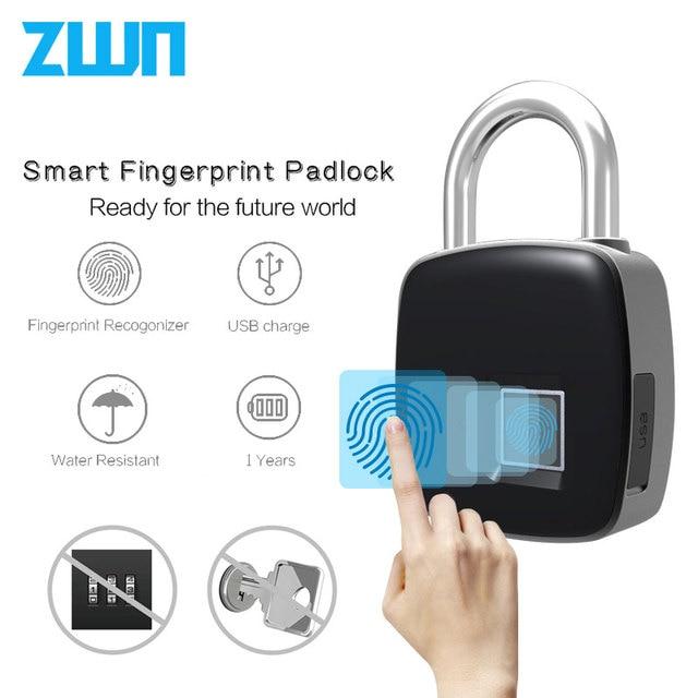 ZWN P3 P3 + inteligentny elektroniczny Blokada z użyciem linii papilarnych IP65 wodoodporna antykradzieżowe bezpieczeństwa bezpieczeństwo cyfrowy kłódka Bluetooth blokada drzwi Rechargeabl