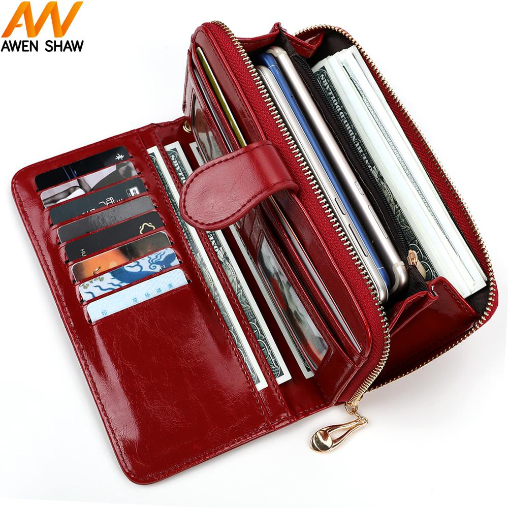 Awen Shaw High Capacity Waxy Oil Leather Women Wallet Hasp Zipper Ladies Clutch Purse With Wristlet Card Holder 12 Color