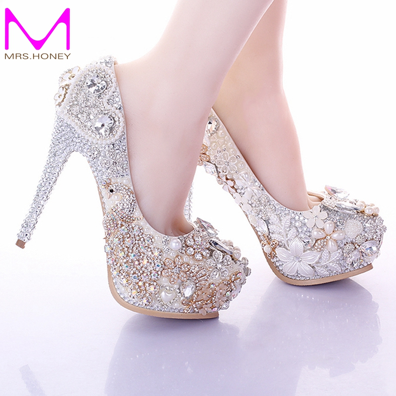Aliexpress Buy 2016 Luxury White High Heels Rhinestone Platform Pumps Wedding Bridal Shoes