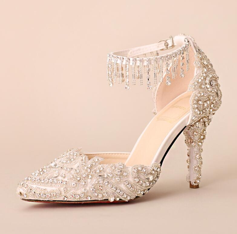 Summer white silver crystal buckle straps wedding sandals shoes bride luxury shinny bling bling ladies female party dancing shoe apoepo handmade wedding bride shoes bling bling crystal pregnant shoes 3 5 cm increased internal low heels shoes mary janes shoe