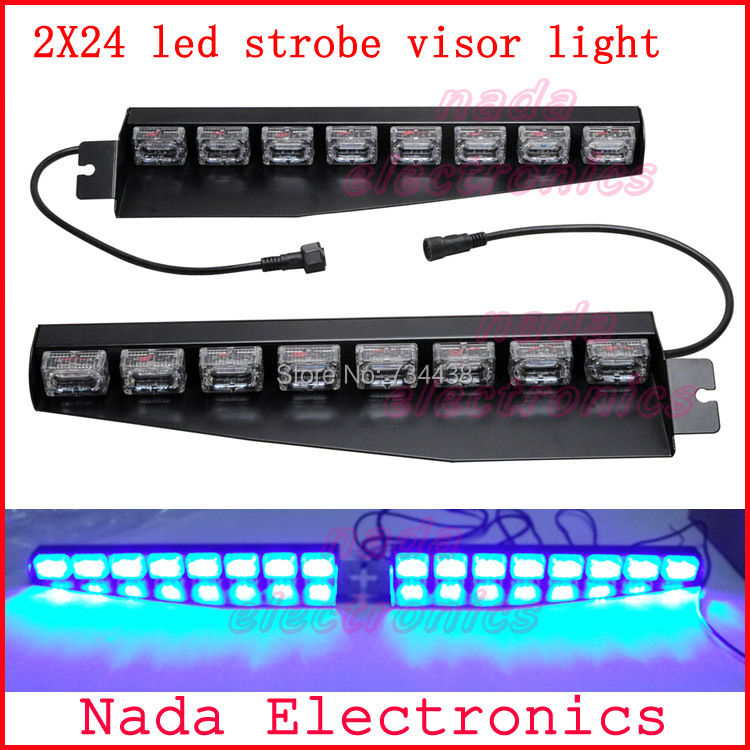 48led Police strobe lights car visor light vehicle dash board led emergency lights car warning lamp RED BLUE WHITE AMBER GREEN 54 led emergency vehicle strobe lights bars warning deck dash grille amber white