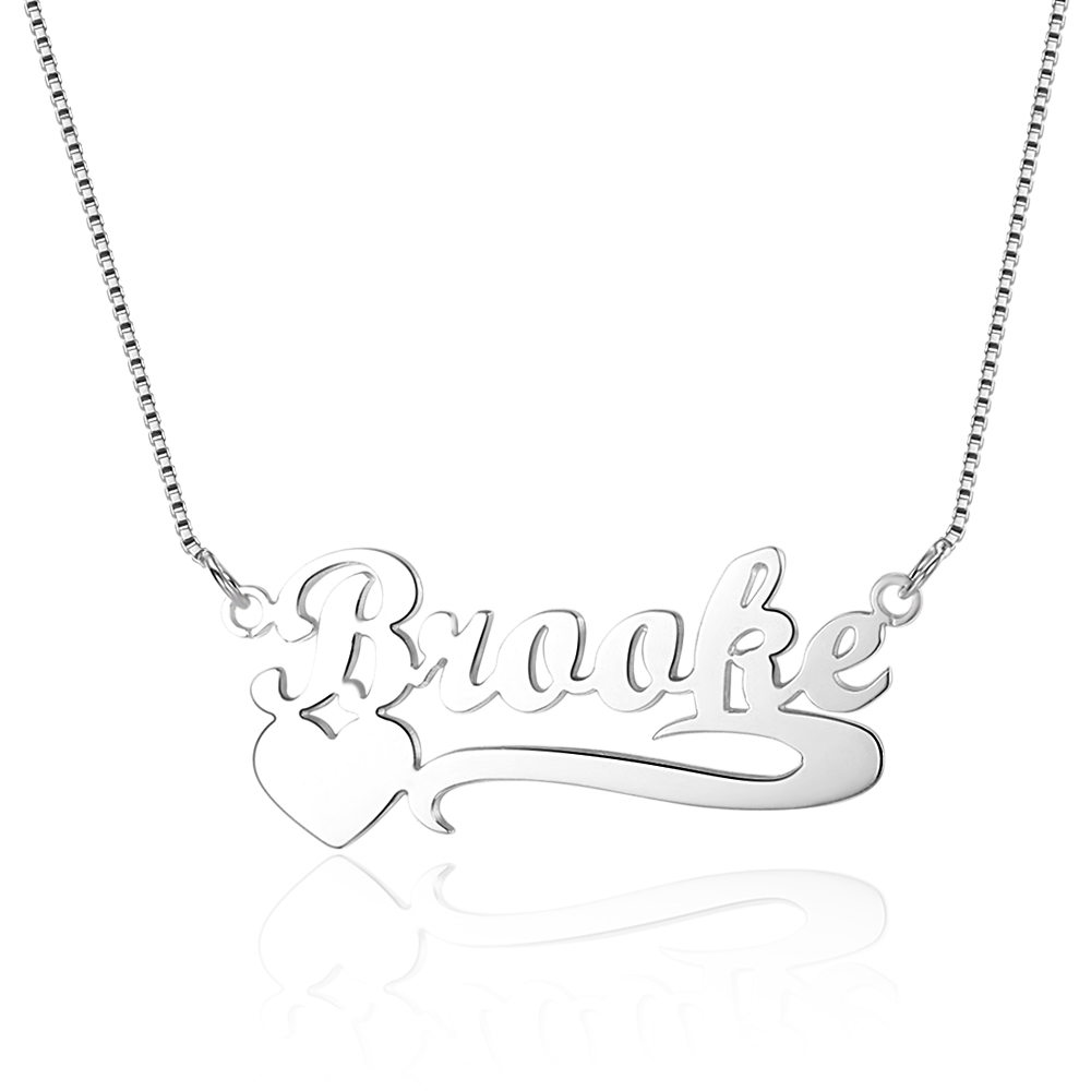 Customized Name Heart Necklace 925 Sterling Silver Personalized Gift for Women Arabic Hebrew Name Necklaces Pendants (NE101466)