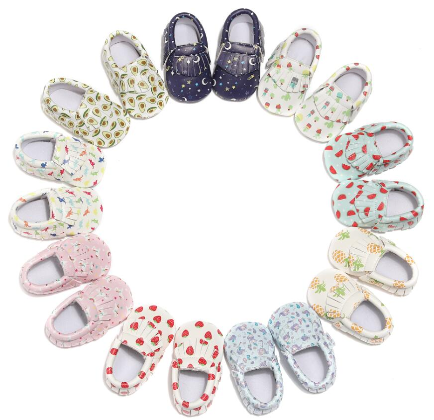 Lovely Printing Soft Sole Baby PU Leather Shoes Fringe Baby Toddlers Moccasins Newborn Autumn Spring Prewalking Casual Shoes