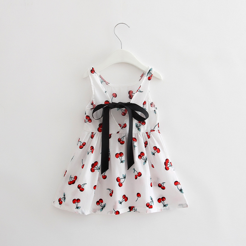 1440410c40a1 Detail Feedback Questions about 2017 New Korean Cute Floral Fruit Cherry Girl  Dresses Cotton Backless Mother Dress Girls Clothes Party Princess Dress ...