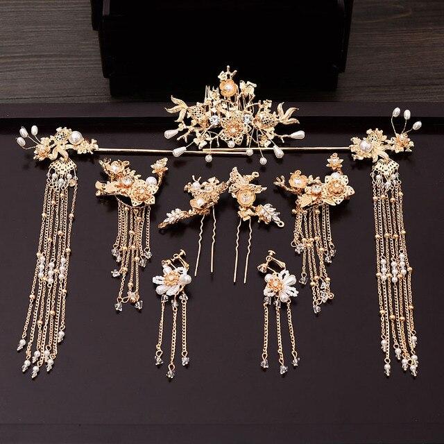 מסורתי סיני סיכת ראש זהב שיער קומבס כלה שיער אביזרי סרט מקל כיסוי ראש ראש תכשיטי כלה כיסוי ראש פין