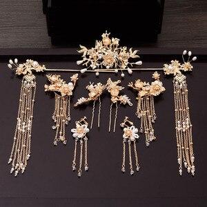 Image 1 - Geleneksel çin saç tokası altın saç Combs düğün saç aksesuarları kafa bandı sopa Headdress kafa takı gelin başlığı Pin
