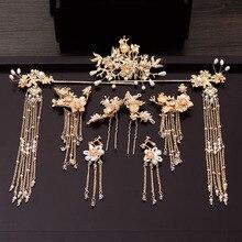 Traditionele Chinese Haarspeld Goud Haar Kammen Bruiloft Haar Accessoires Hoofdband Stok Hoofdtooi Hoofd Sieraden Bruids Hoofddeksel Pin