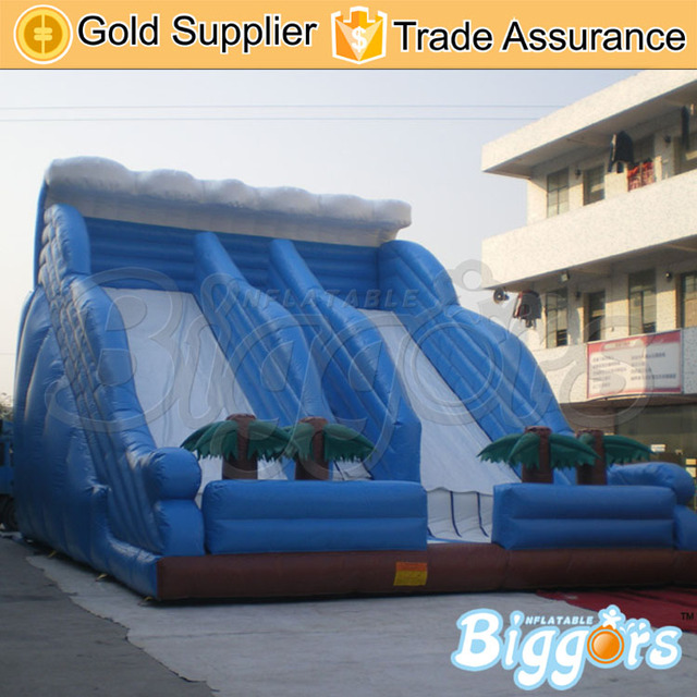 Factory Price Blue Double Lane Slide Inflatable Water Games For Children