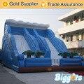 Preço de fábrica Azul Jogos Infláveis Da Água Slide Pista Dupla Para As Crianças