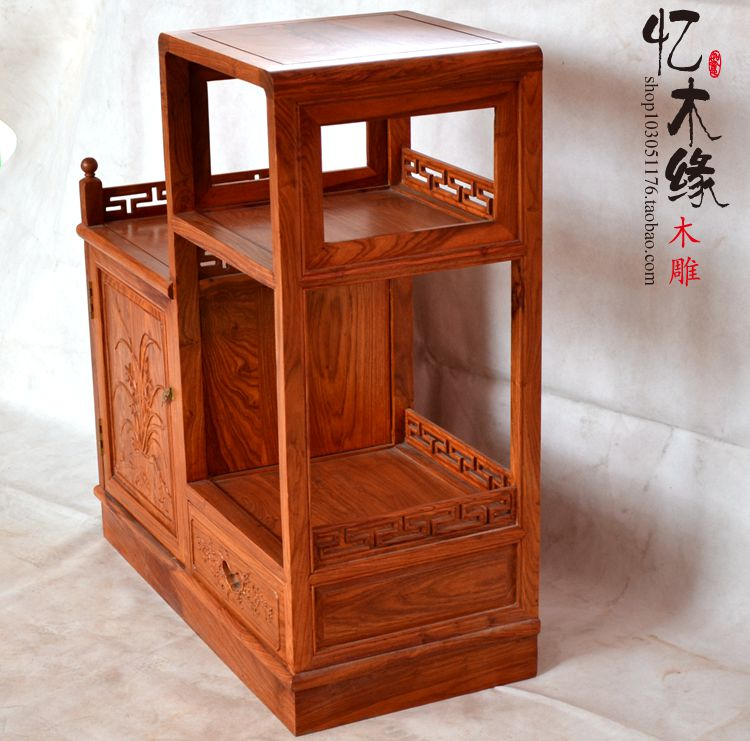 Mahogany furniture kitchen cabinets and tea cabinet African rosewood wood lockers Chinese antique high-low cabinet antique vintage wood bedside cabinet straw small cabinet drawer storage cabinets lockers simple paulownia wood