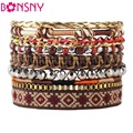 Bonsny 2016 New Luxury Sequins Bead Handmade Bracelet Multilayer Weave Fashion Bohemia Bracelets Bangle Jewelry For Girl Women