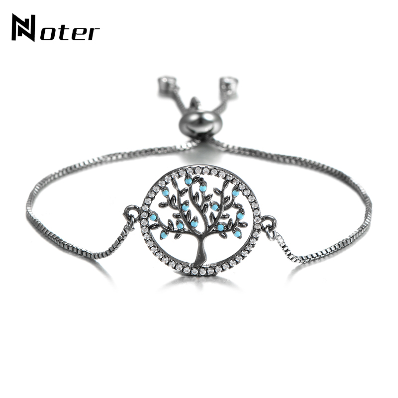 Noter 2018 New Arrival Tree Of Life Bracelet Charms Chain Zirconia Paved Adjustable Braslet For Mens Women Hand Jewelry