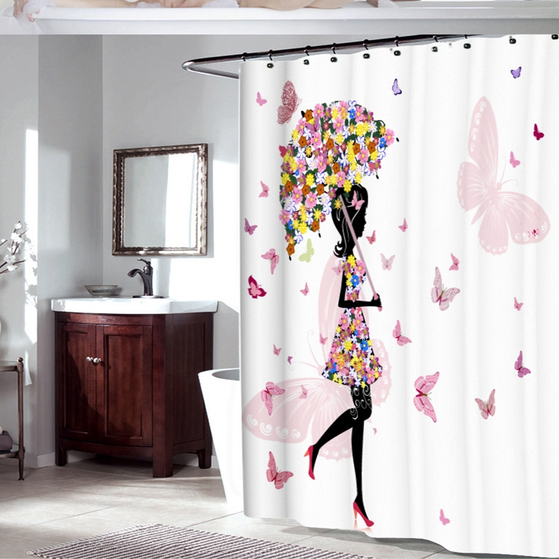 Fabric Polyester Pink Butterfly Girl With Floral Dress Flower Fairy Angel Wings Shower Curtain