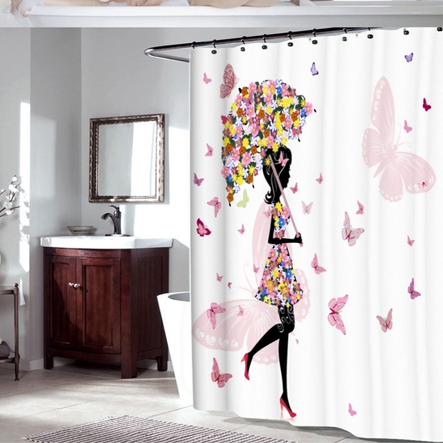 Tenda Vasca Da Bagno.Tessuto In Poliestere Di Colore Rosa Della Farfalla Della Ragazza