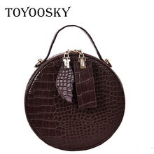 TOYOOSKY Brand Designer Women Mini Round Bags Crocodile Pattern Messenger Bag Circle Lady Top-handle Handbag Purses Clutches