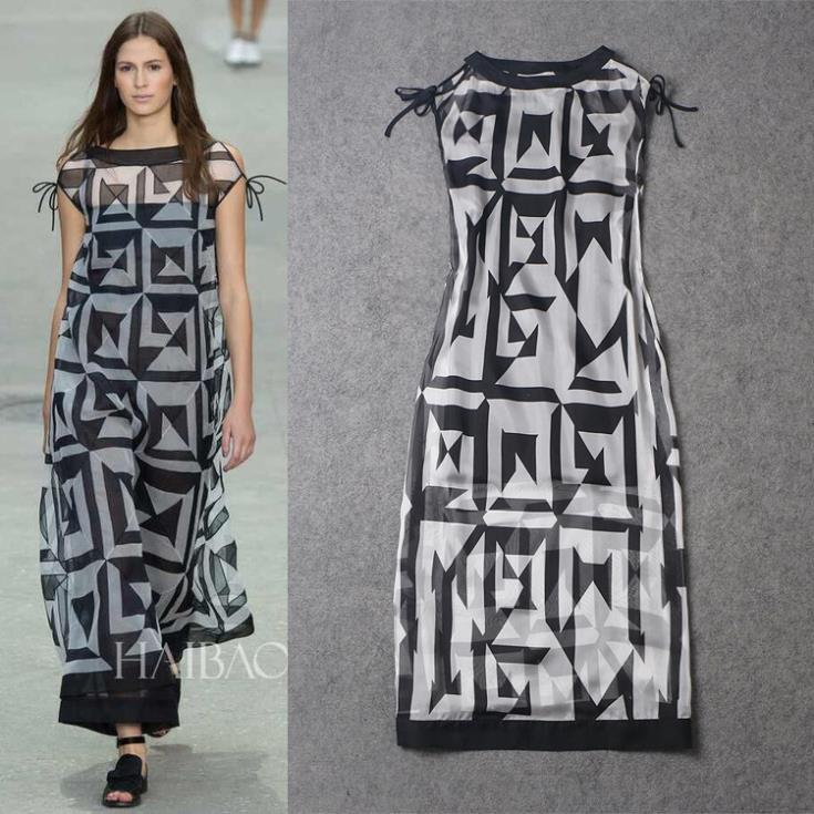 women's new runway 2015 strapless geometric print loose gowns summer dresses - Chic Classic Store store