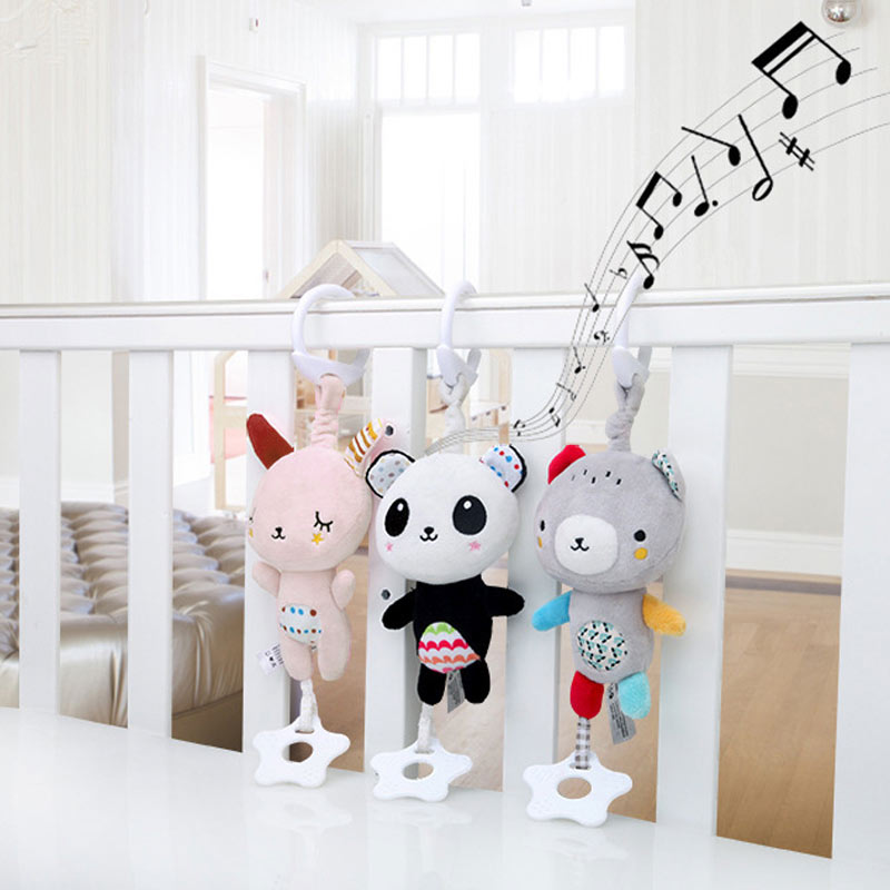 Hot Selling Infant Baby Soft Plush Toy Bed Crib Stroller Hanging Ring Bell Rattle Early Educational Music Box(China)