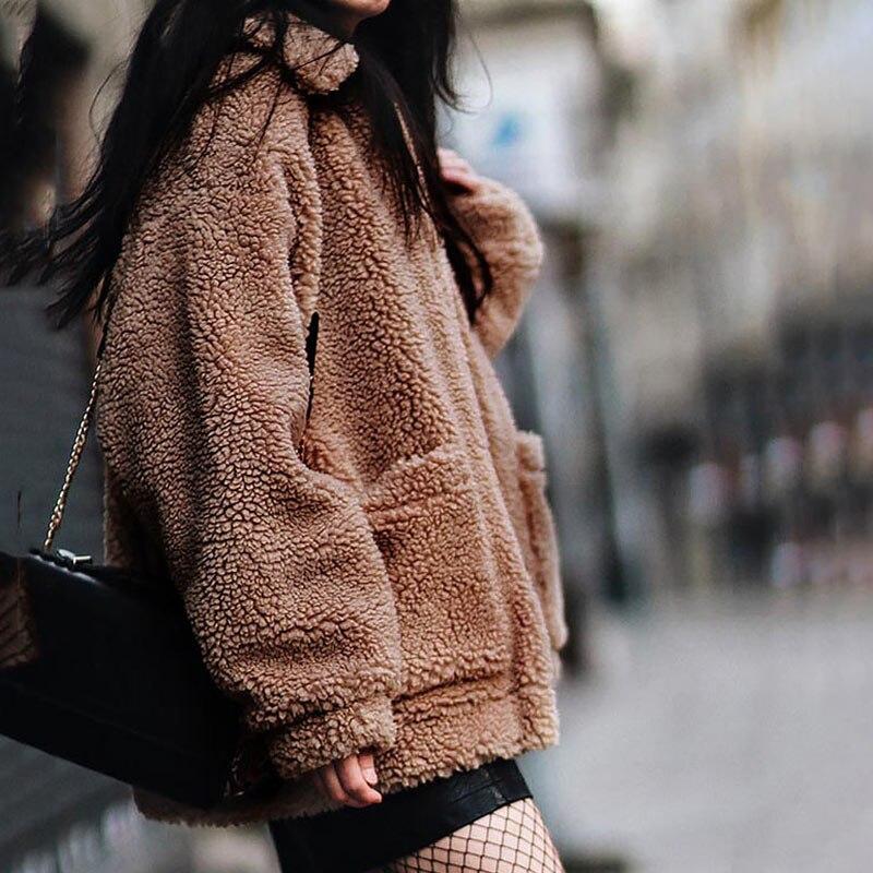 Women jacket 2019 autumn winter jacket fashion female coat new zipper sweaters lapel loose fur jacket women outerwear women coat 4