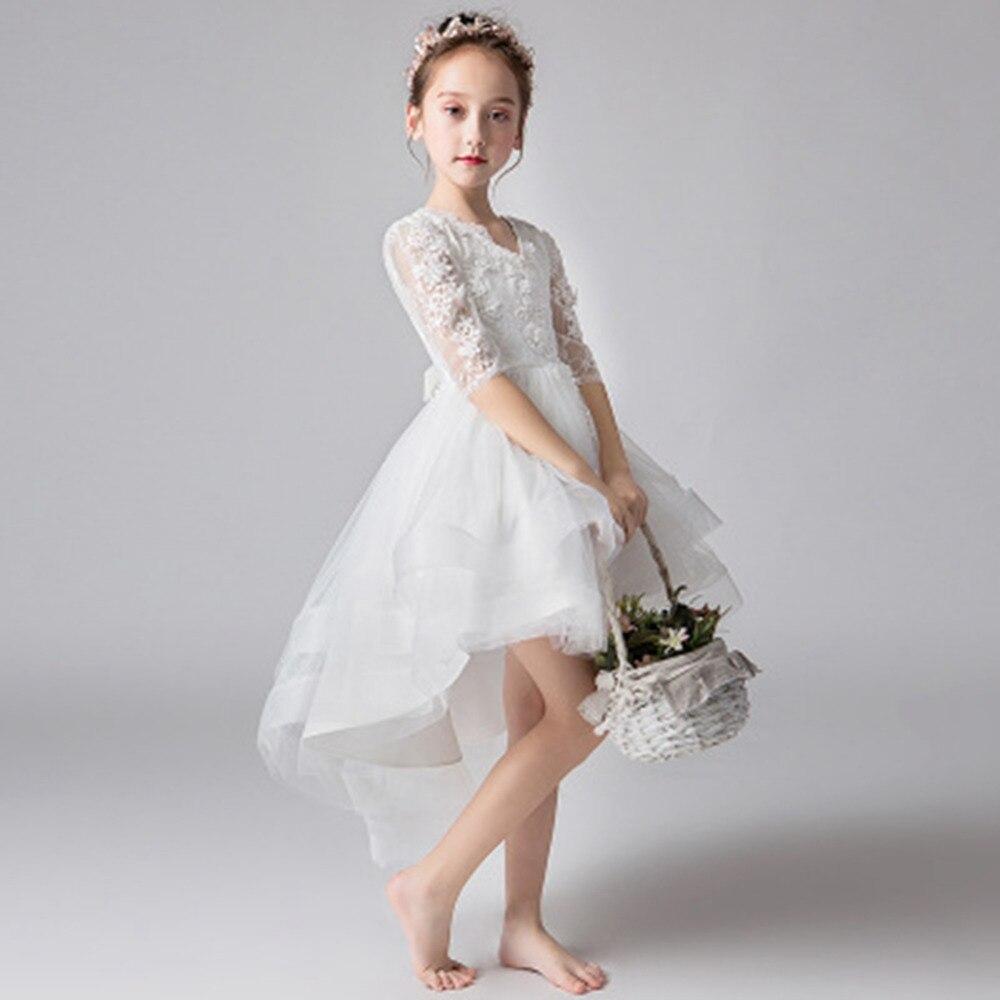 Nouvelle mode filles robe blanche princesse robes enfants traînant robe pour fête et mariage enfants robe de bal fille robe d'été - 5