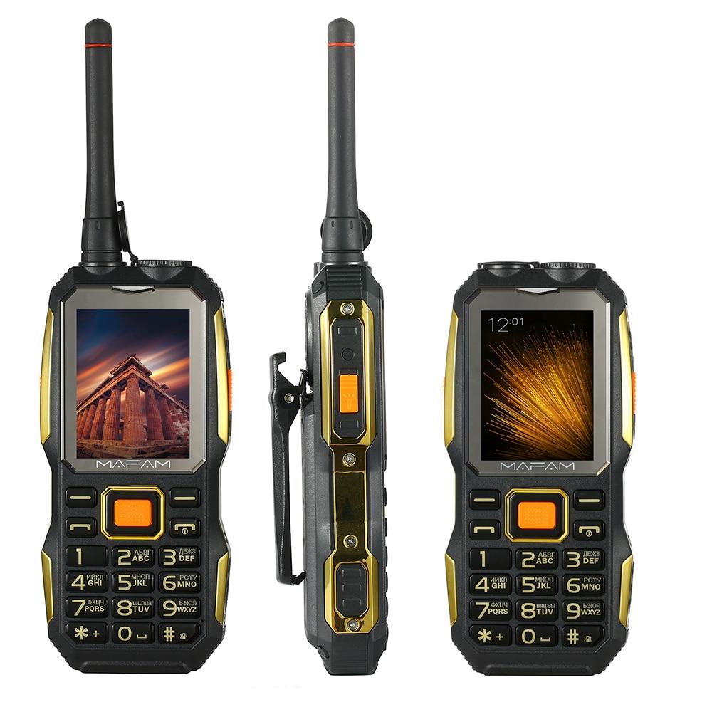 MAFAM a prueba de golpes resistente al aire libre UHF Walkie Talkie superior del teléfono móvil manos libres Clip de cinturón antena Speed Dial DVR banco de potencia P156