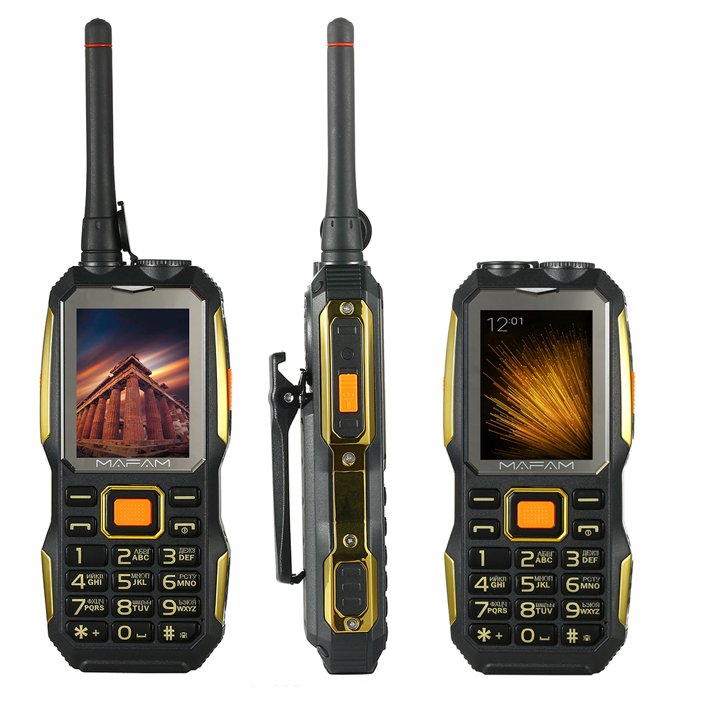 Shockproof Rugged outdoor UHF Walkie Talkie PTT free belt clip <font><b>power</b></font> bank Facebook big sound key senior mobile phone P156