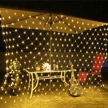 Led ネットクリスマスイルミネーション 3 色選択する屋外 220 220v eu プラグ防水 led ネットライト 1.5*1.5 m/2*2 m/3 x2M/6*4 メートル