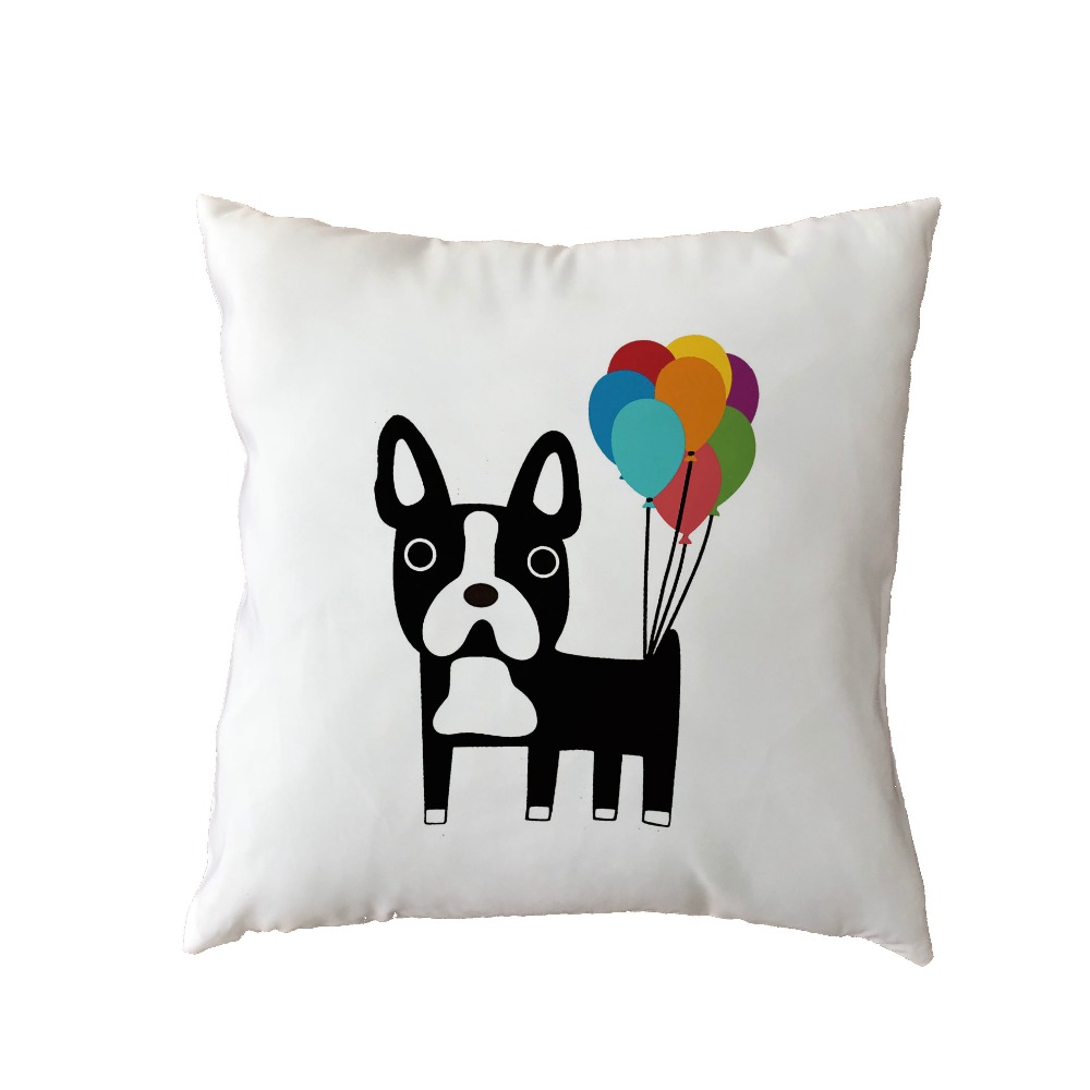 Promotional White Throw Cushion Covers French Bulldog Balloon Letter Dachshund Dog Pug Home Bedroom Sofa Gift Decor Pillow Cases