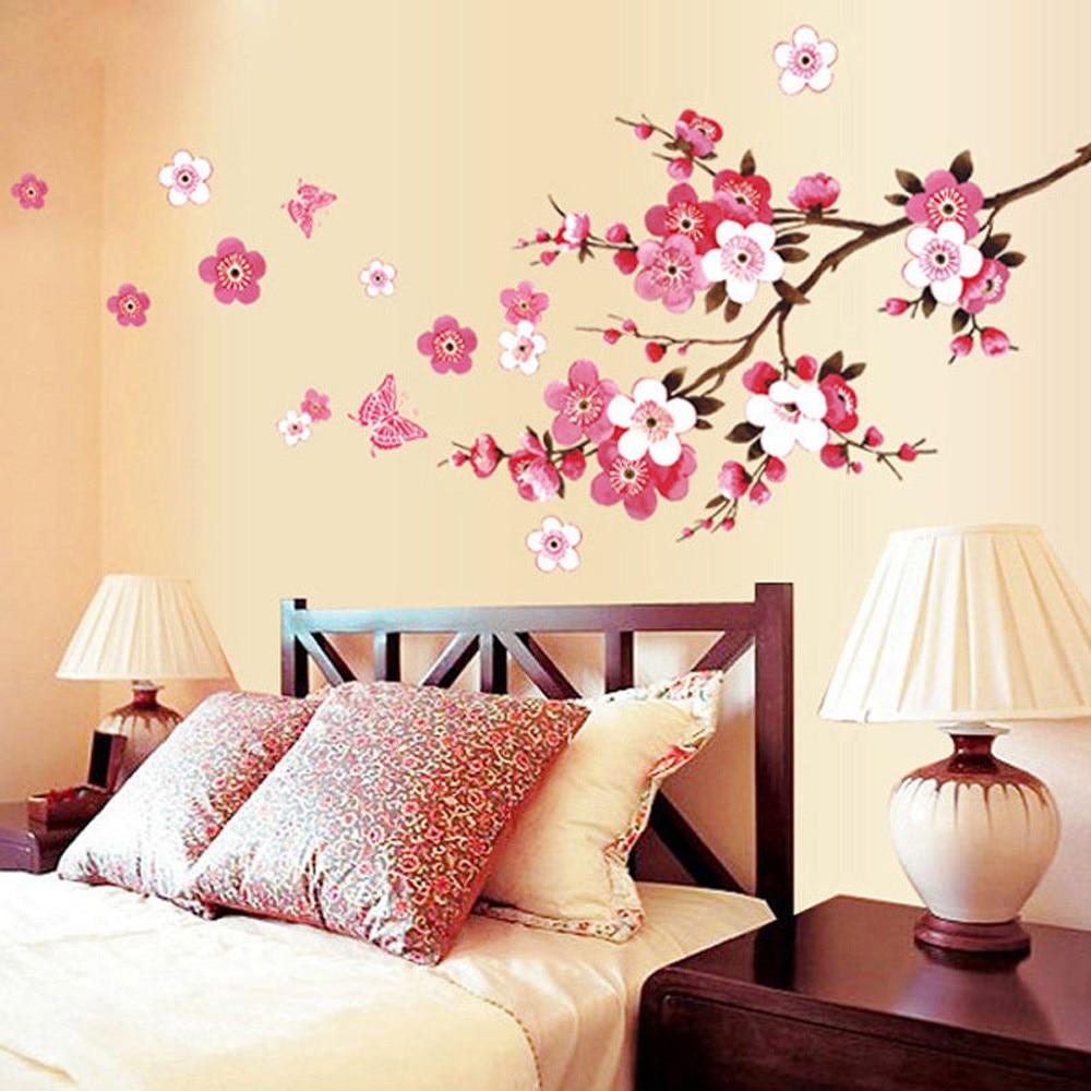 3D Pink Tree Wall Stickers Room Peach Blossom Flower Butterfly DIY Wall Stickers Poster Vinyl Art Decals Decor Mural Wallpaper