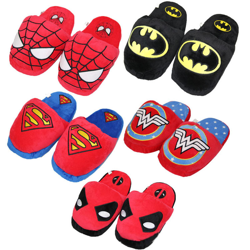 Anime Super Deadpool Spiderman Sapatos de Pelúcia sapatos casa de pelúcia chinelos interior mulheres casa quente