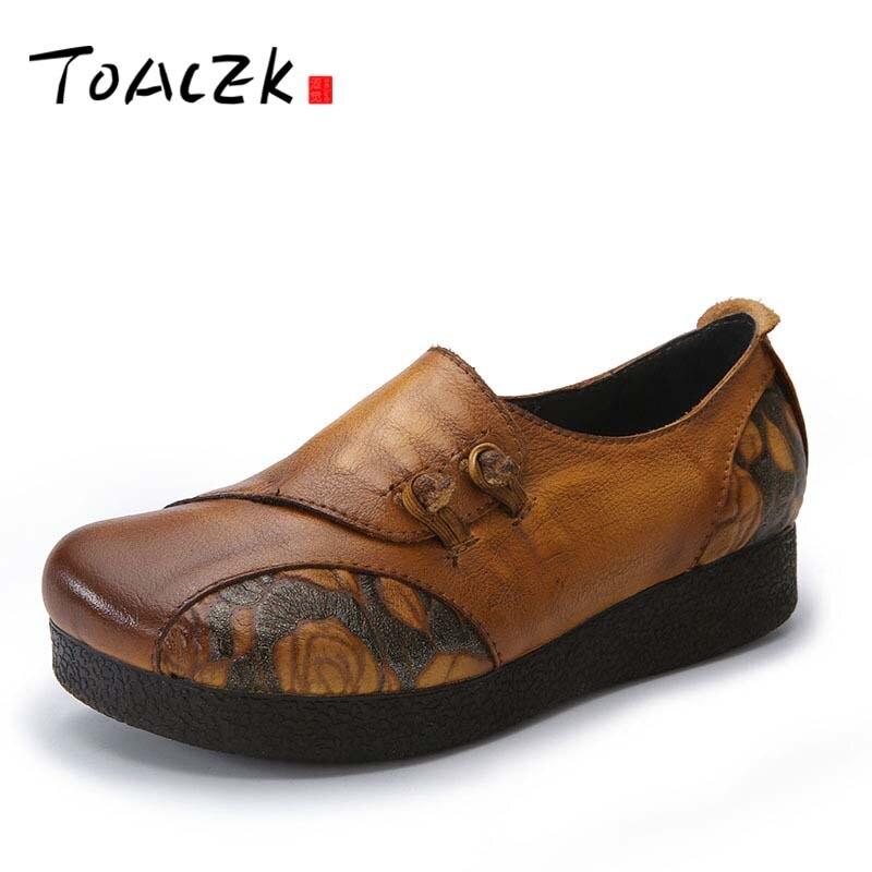 купить Flat Platform Woman Shoe Handmade Genuine Leather Flats vintage Soft Comfortable Shoes for Women 2018 онлайн