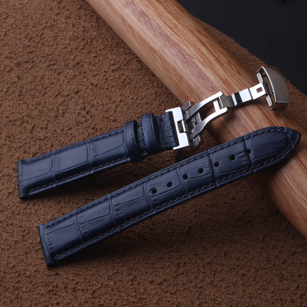 High Quality Leather Genuine Watchbands Straps Dark Blue Silver Butterfly Buckles Clasp 14mm 15mm 16mm 17mm 18mm 19mm 20mm 22mm