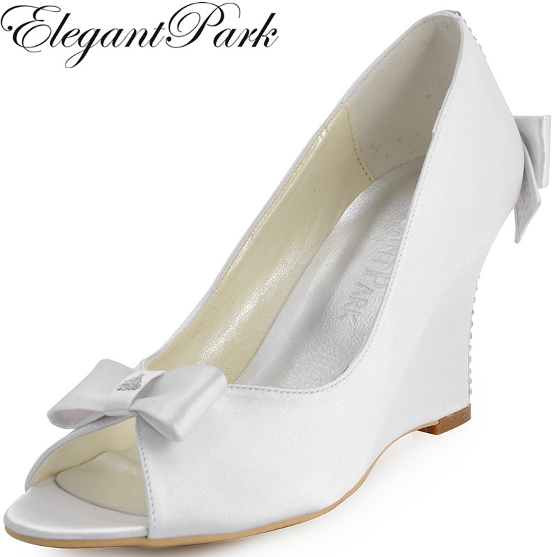 Free shipping EP41020  Women Evening Party Peep  Toe  Satin Bow  Rhinestone 3.5″ Wedges  Heel Wedding Bridal Shoes US4-11