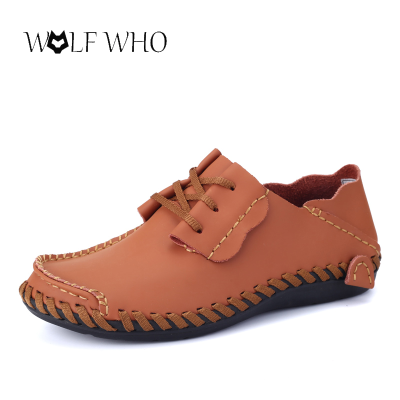 WolfWho Handmade Genuine Leather Flats Men Shoes Slip On Moccasins Boat Shoes High Quality Loafers Brand New Driving Shoes handmade genuine leather men s flats casual luxury brand men loafers comfortable soft driving shoes slip on leather moccasins